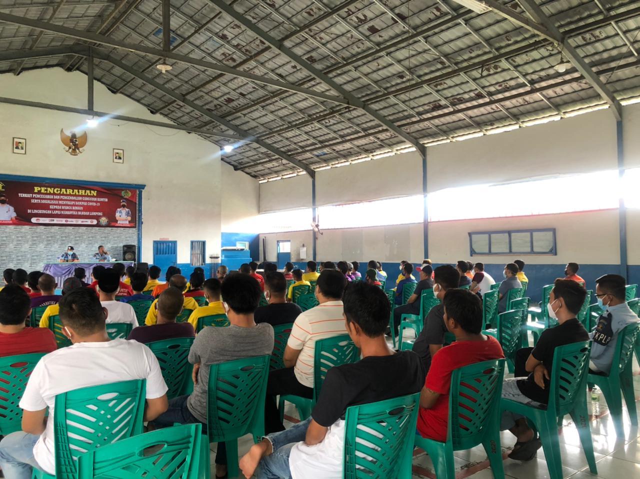 Lapas Kelas IIA Narkotika Bandar Lampung , Laksanakan Sosialisasi Pencegahan Ganguan Kantib Dan Pencegahan Covid 19 kepada Warga Binaan